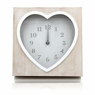 Shabby Vintage Chic Lime Washed Wooden Heart Shaped Wall or Mantle Clock