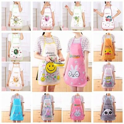 Women Cartoon Fruits Waterproof PVC Apron Kitchen Restaurant Cooking Bib Aprons