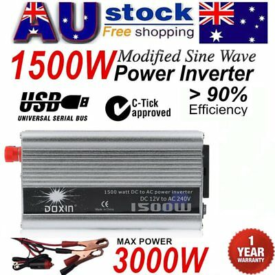1500W-3000W DC12V to AC220V Portable Car Power Inverter Charger Converter USB AU