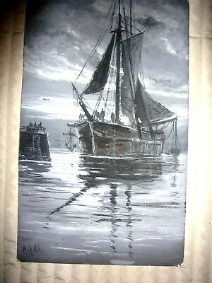 Oilpainting boat sailor marine sea Maritime ship Gouache harbor painting port