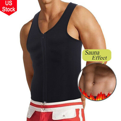 Mens Waist Trainer Vest Sauna Sweat Body Shaper Tank Top Slimming Trimmer Shirt