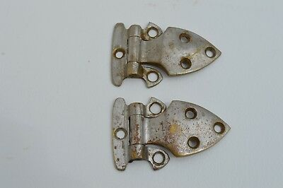 2 Antique/vintage Ice Box/ Refrigerator Metal Hinges Latches Hardware