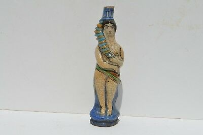 Nice Vintage Picasso Style Hand Painted Figural Female Nude Ceramic Bottle
