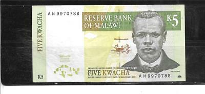 MALAWI #36a 1997 VF CIRC 5 KWACHA OLD BANKNOTE PAPER MONEY CURRENCY BILL NOTE