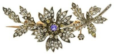 3.80cts ROSE CUT DIAMOND SAPPHIRE ANTIQUE VICTORIAN LOOK 925 SILVER BROOCH PIN