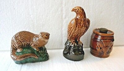 3 Small Decanters by Beswick Otter/Barrel/Eagle