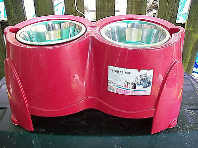Twin Bowl Raised Stand for Large Dog VGC