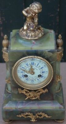 Fab Onyx And Gilt Metal Vincenti Mantle Clock With Signed Cherub Figure To Top