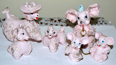 Cute Vintage Lot Of 6 Spaghetti Poodle Puppy, Dog, Lefton, Pink Mother & Puppies