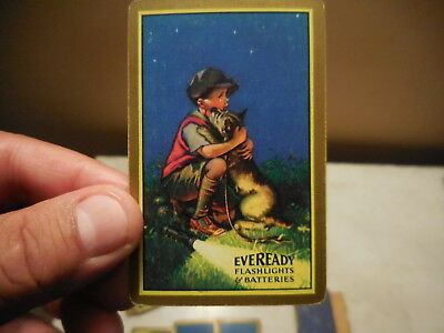 rare c1921 EVEREADY FLASHLIGHTS & BATTERIES  ADVERTISING PLAYING CARDS ANTIQUE