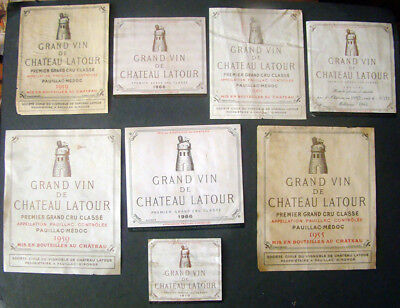 Original Wine Label Lot Of 06 Grand Vin De Chateau Latour 1955 To 1970  Rare
