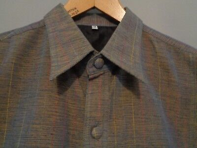Vtg NOS French 50s lk 60s atomic grey striped rockabilly mod chore work shirt