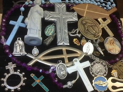 Lot Of Vintage~Now Catholic/religious Rosaries, Medals, Crosses, Charms... (E24)