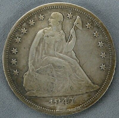 1847 Seated Liberty Dollar $1 Holed And Plugged Vf - Details (4570)
