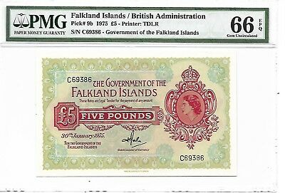 Falkland Island / British Administration - 5 pounds, 1975. PMG 66EPQ.