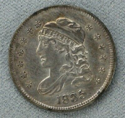1835 Capped Bust Half Dime H10C Large Date Small 5C Choice Au About Unc (4574)