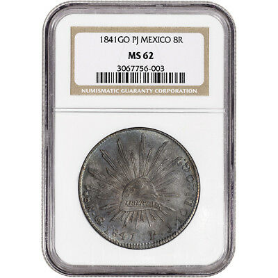 1841 Go PJ Mexico Silver 8 Reales - NGC MS62