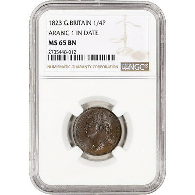 1823 Great Britain Farthing 1/4P - Arabic 1 in Date - NGC MS65 BN