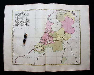 1755 GOOS & PALAIRET - Big Wall-Map of NETHERLANDS, HOLLAND, BELGIUM, LUXEMBOURG
