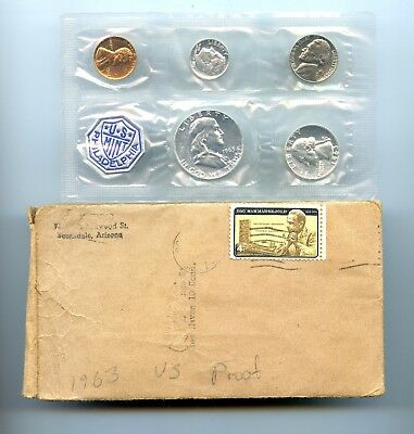 1963 ~ Silver Proof Set ~ 5 Coins ~ Mint Envelop