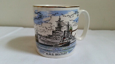 H.M.S. Belfast Lord Nelson China Mug / Cup Navy Militaria Military War Ship
