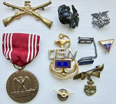 lot WWII US NAVY marines STERLING SWEETHEART pin WWI usn WINGS us SON-IN-SERVICE