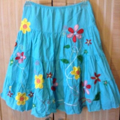 Sally Mack Girls Skirt, Praire Floral Design & Embroidery Detail, Xl