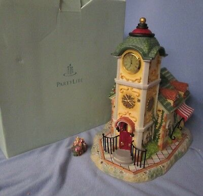 PartyLite Olde Old World Village #4 Clock Tower tealight w/ flower cart & box