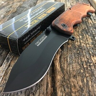 "8.25"" TAC FORCE WOOD Tactical Spring Assisted Open FOLDING BLADE Pocket Knife-"