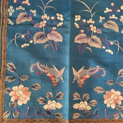 """Chinese Silk Embroidery Panel Textile 18 1/2"""" X 25 1/2"""" USA ship Rooster Flower"""