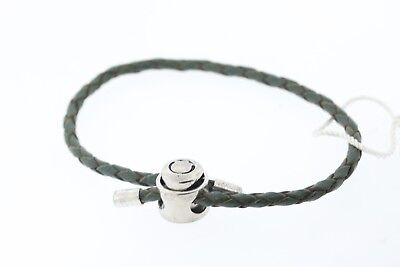 PERSONA Green Single Wrap Braided Leather Charm Bracelet Sterling H11721B1-07