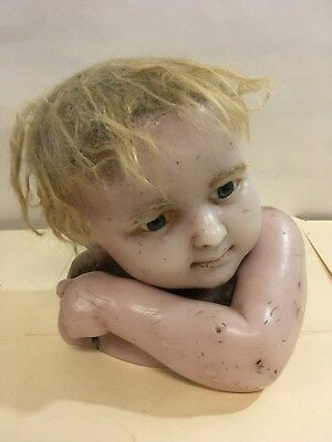 RARE Antique Wax Life size Child Cupid Head Bust Glass Eyes (Z12)