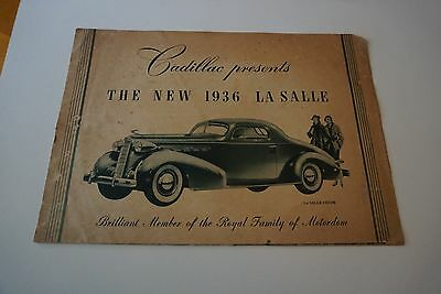 """1936 Cadillac La Salle Automobile Brochure 22"""" x 16"""" Fold-Out Poster POOR"""