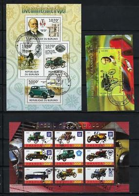 FS9472 3 Diff Souvenir Sheets of Old Classic Automobiles Cars GM Opel Benz & Etc
