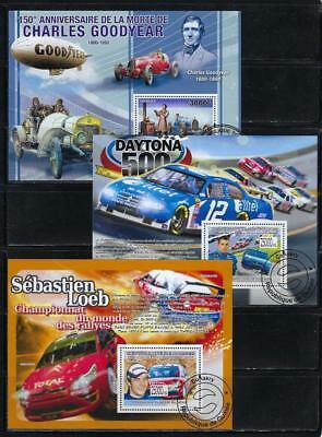 FS9473 3 Diff Souvenir Sheets of Automobile Races Racing Cars & Drivers Daytona