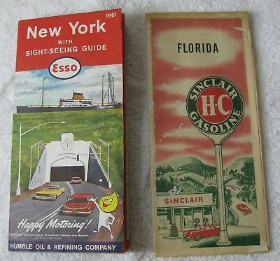 2 Vintage Service Station Road Maps - 1961 ESSO New York- 1950s SINCLAIR Florida