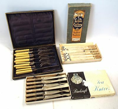 3x Sets of Vintage Cutlery Including Boxed Butter Knives Approx 24 Pieces - B64