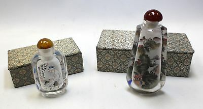 Pair Of Hand Painted JAPANESE Design Art Glass Scent Bottles BOXED - C23