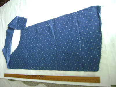 Antique blue and white cotton calico remnant  1 1/2 yards  length varying  width