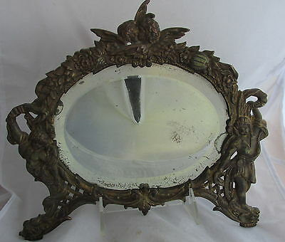 Antique Victorian Kissing Cherubs Cast Brass Bronze Finish Picture Mirror Frame