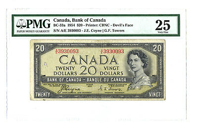 1954 $20 CANADA PMG 25 DEVIL'S FACE BC-33a BANKNOTE SN A/E 3930093 COYNE TOWERS