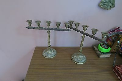 """Pair @ 2 Vintage Solid Metal Brass Ornate 5 Arm Candle Holders 11"""" x 10"""""""