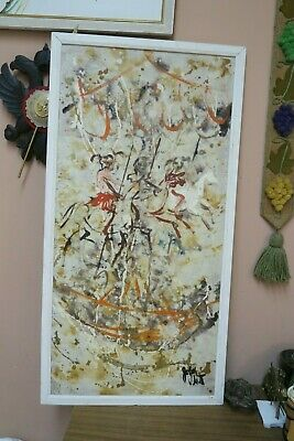 """Vintage Artist Signed Oil On Board White Horse Abstract Painting Framed 17""""X36"""""""