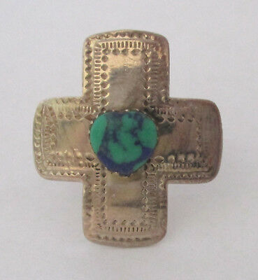 Vintage Turquoise Cabochon Cross Ring Size 8