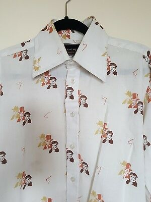 VINTAGE Retro 70s Victorian Faces Print Pointed Collar Hipster Shirt