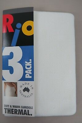 RIO Ladies 3 Pack Soft & Warm Camisole Thermals size 10 12 14 16 Off White