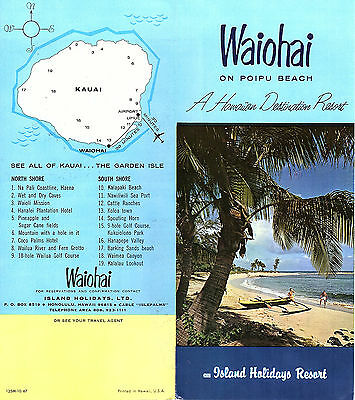 Waiohai Resort Poipu Beach Kauai Hawaii Vintage 1967 Travel Brochure Rate Card