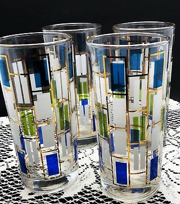 Set of 4 Mid Century Modern Blue, Yellow, White and Gold Accented Glass Tumblers