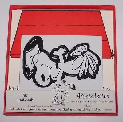 Hallmark Postalettes - Peanuts - Dancing Snoopy on Doghouse - Set of 7 with Box