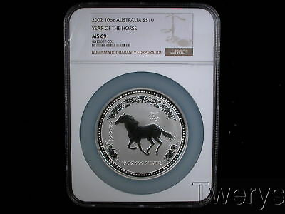2002 AUSTRALIA PERTH MINT SILVER 10Oz LUNAR SERIES 1 YEAR OF THE HORSE NGC MS 69